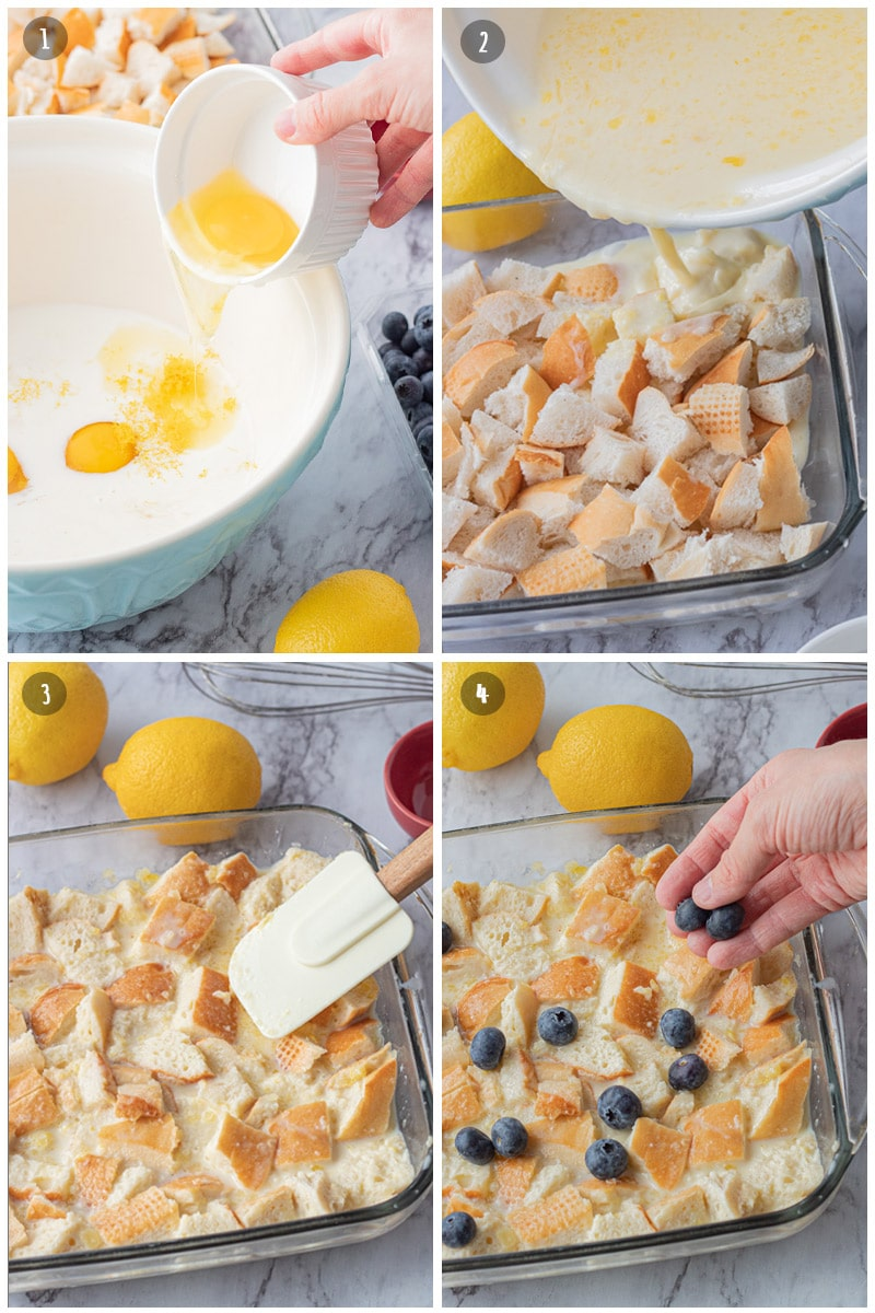 Eggs pouring into blue bowl of milk, pouring eggs and milk onto bread cubes, spatula pressing bread cubes into glass pan, sprinkling blueberries on bread, eggs, and milk..