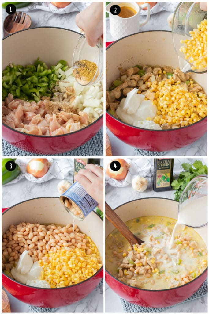 Process of making white chicken chili: pouring in spices to raw ingredients, pouring in corn and greek yogurt, pouring in Navy beans, and pouring in milk mixture.