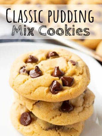 Stack of 3 baked chocolate chip pudding mix cookies with text overlay. ;