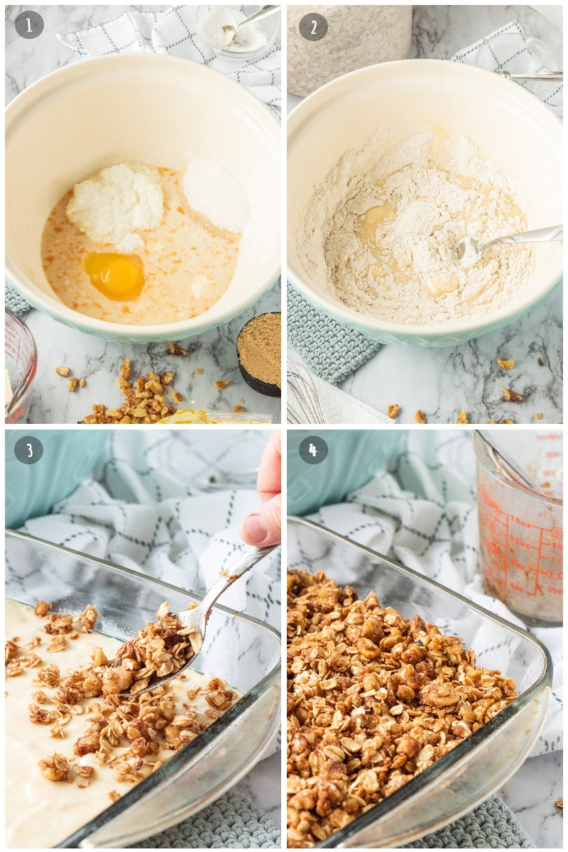 wet ingredients for coffee cake in a blue bowl, mixing together wet and dry ingredients, sprinkling oat/nut topping over raw batter.