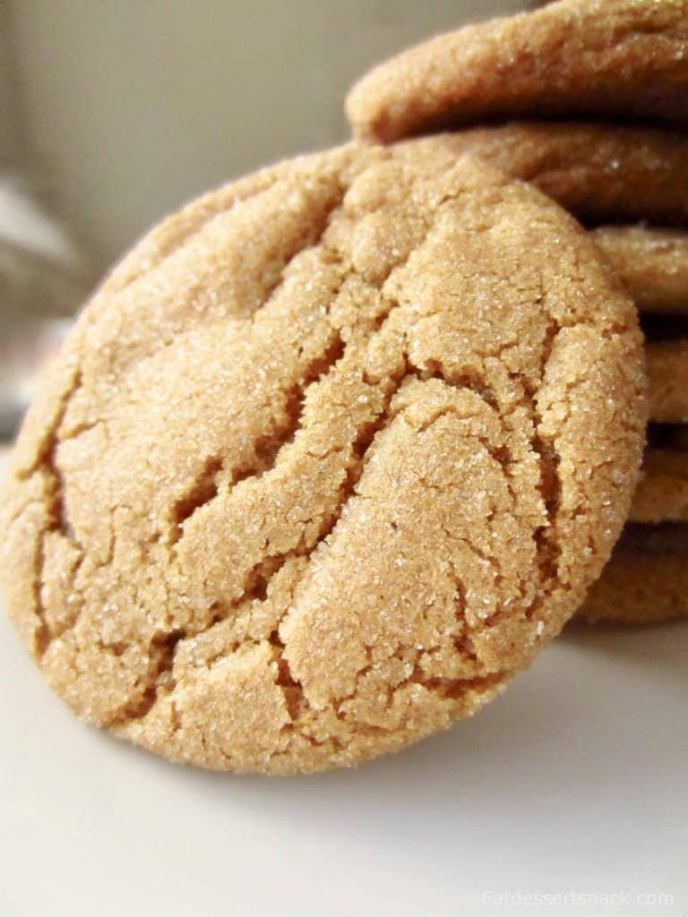 Baked ginger snap in front of a stack of cookies.