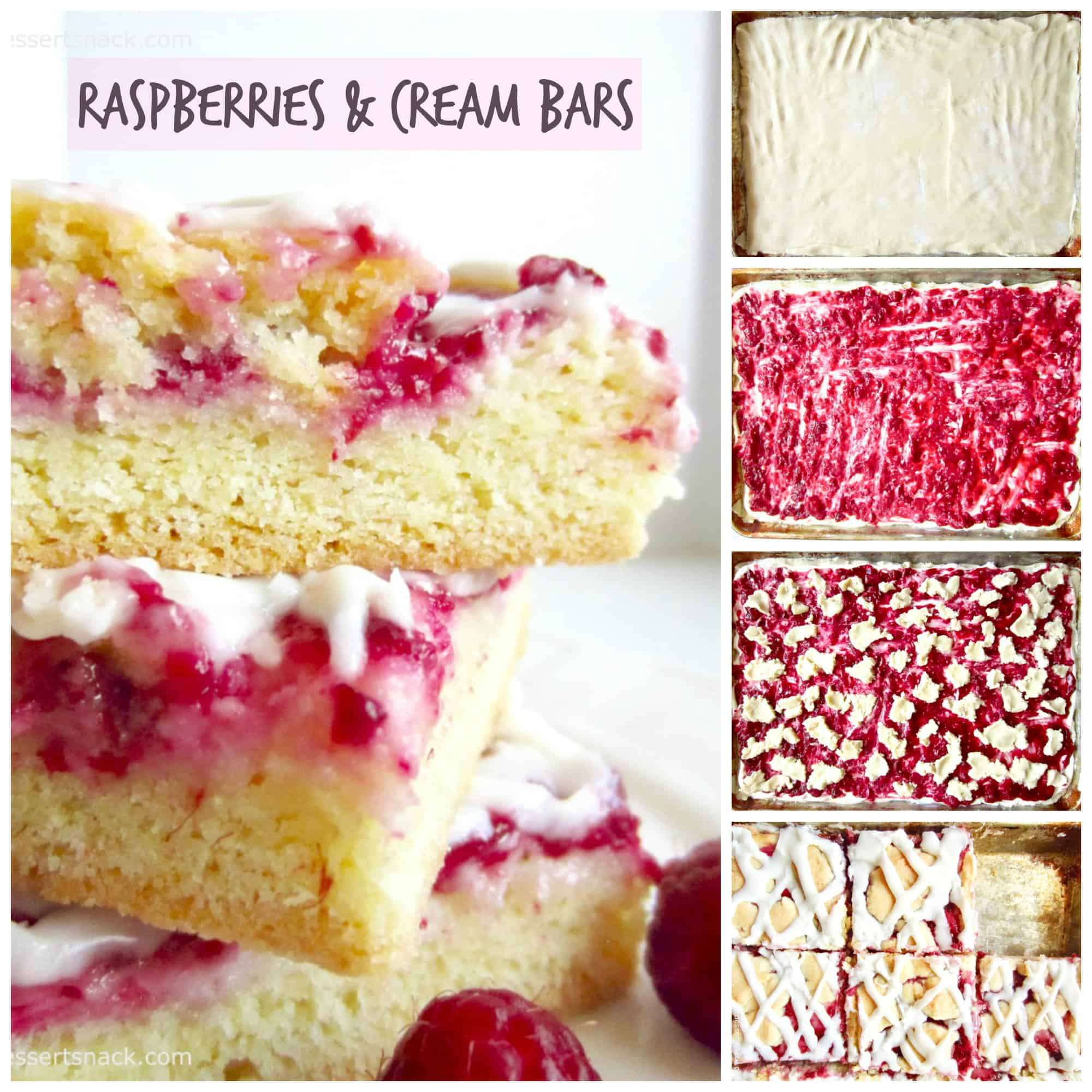 Three raspberry and cream bars stacked on top of each other, process pictures of dough, raspberry and cream filling, and glaze.