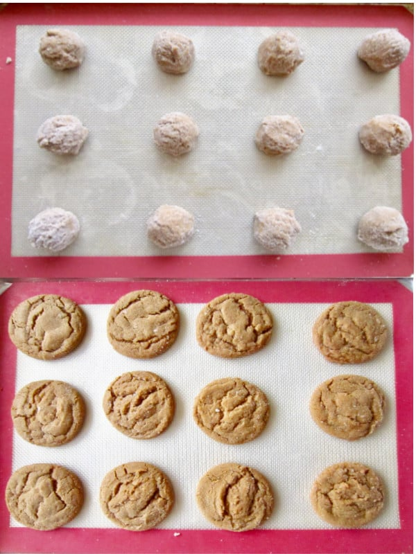 Raw cookie dough rolled in sugar, then baked ginger snaps on a pan.
