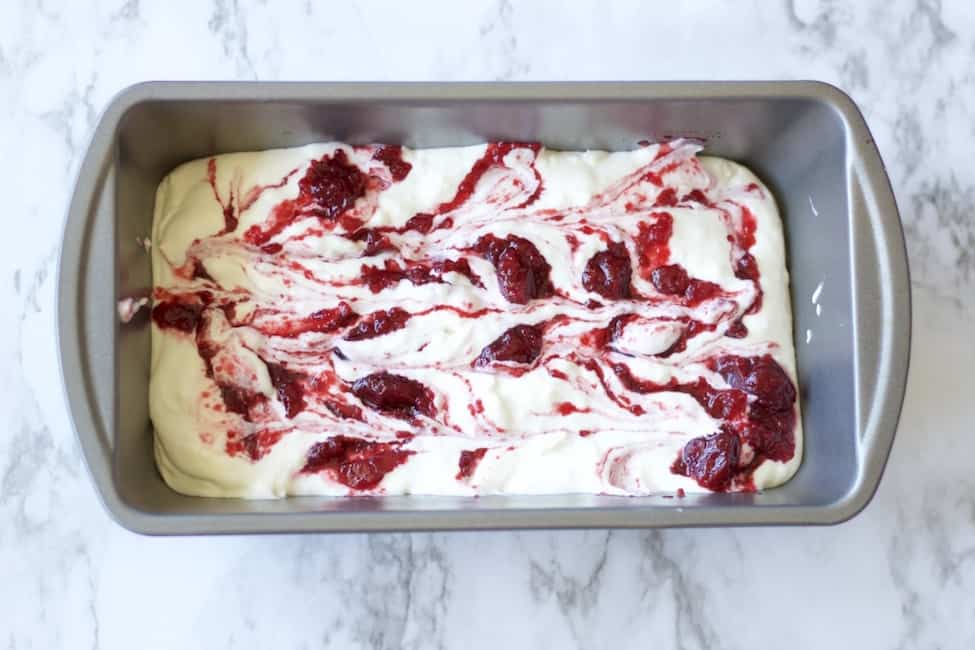 cherry pie filling swirled into whipped cream.