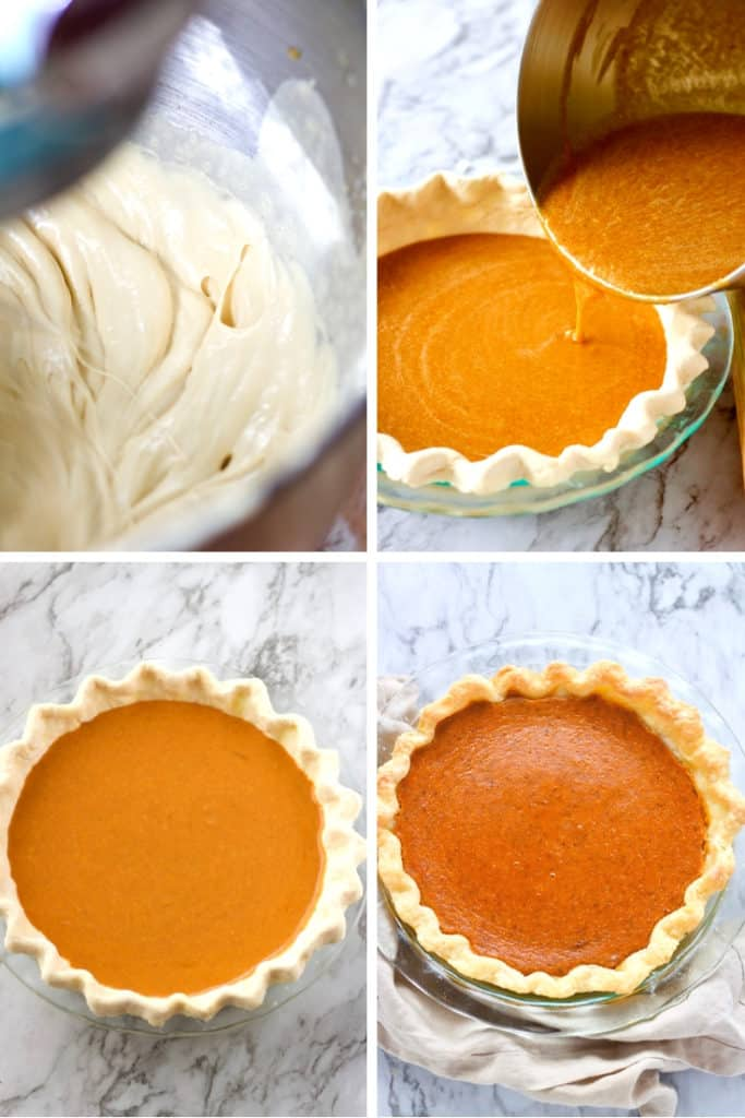 Best Pumpkin Pie process photos. Eggs and brown sugar being whipped, mixed batter in pie shell, baked pie.