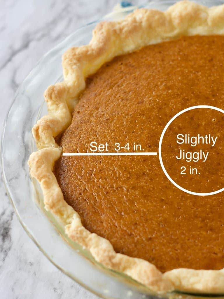 Best Pumpkin Pie baked with set edges 3-4 inches and jiggly center 2 inches.