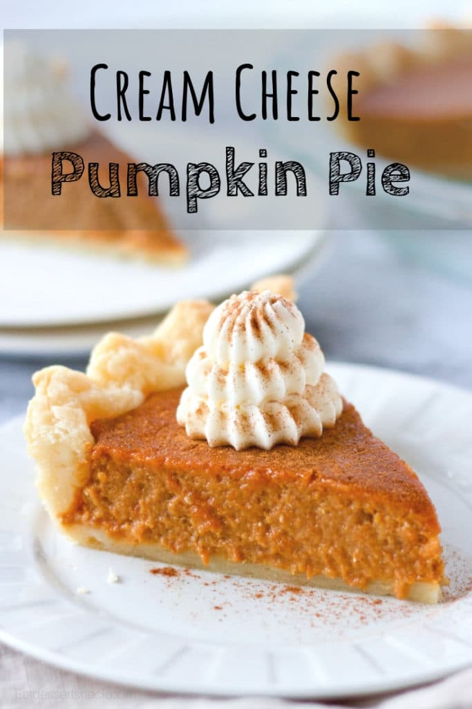 Best Pumpkin Pie Recipe slice of baked pie on a plate with text overlay.