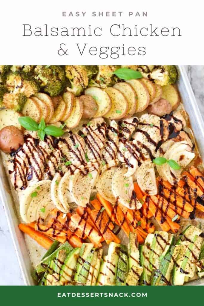 Baked Chicken and vegetables with balsamic glaze in metal pan.