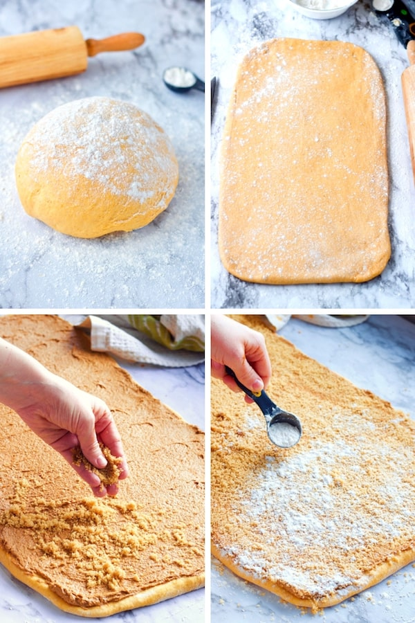 Pumpkin Cinnamon Roll dough collage. Floured dough on marble. Rolled out dough in 24 inch by 12 inch rectangle, sprinkling brown sugar and flour on dough.