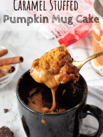 Cooked Pumpkin Mug Cake on a spoon with caramel
