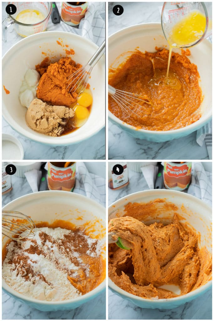 Raw wet ingredients of pumpkin butterscotch cake in bowl, adding melted butter, then dry ingredients, then mixing all together.
