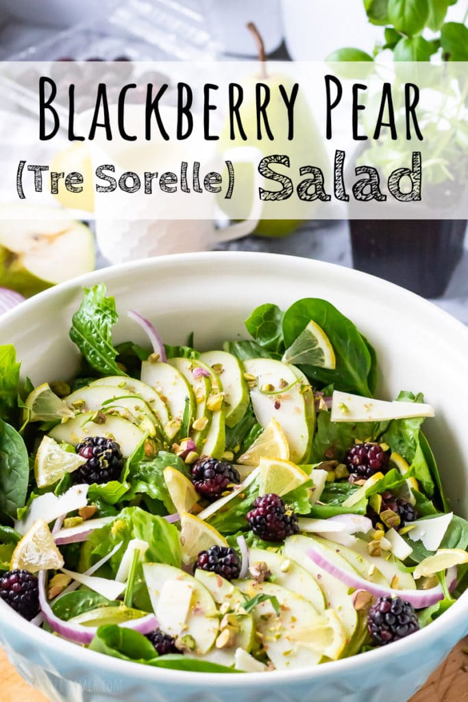 Assembled blackberry pear salad with lemon vinaigrette and text overlay.