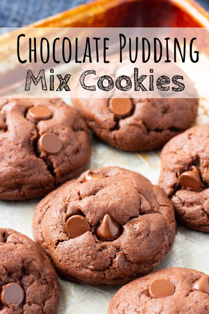 Baked Chocolate Pudding Mix Cookies with text overlay