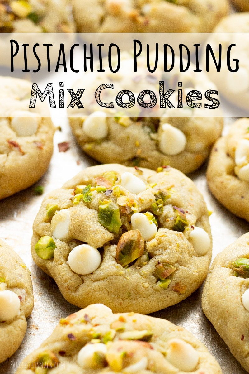 baked pistachio pudding mix cookies on a baking sheet.