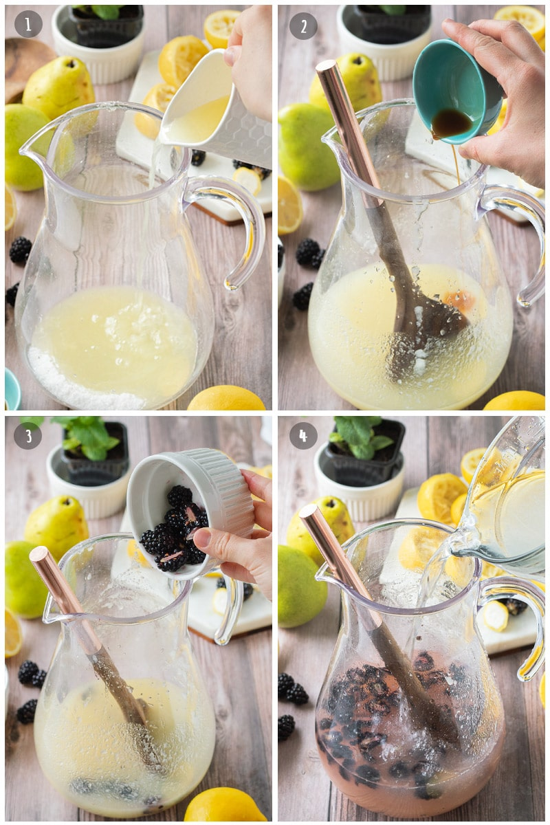Glass pitcher with vanilla, blackberries, lemon juice, and water filling it.