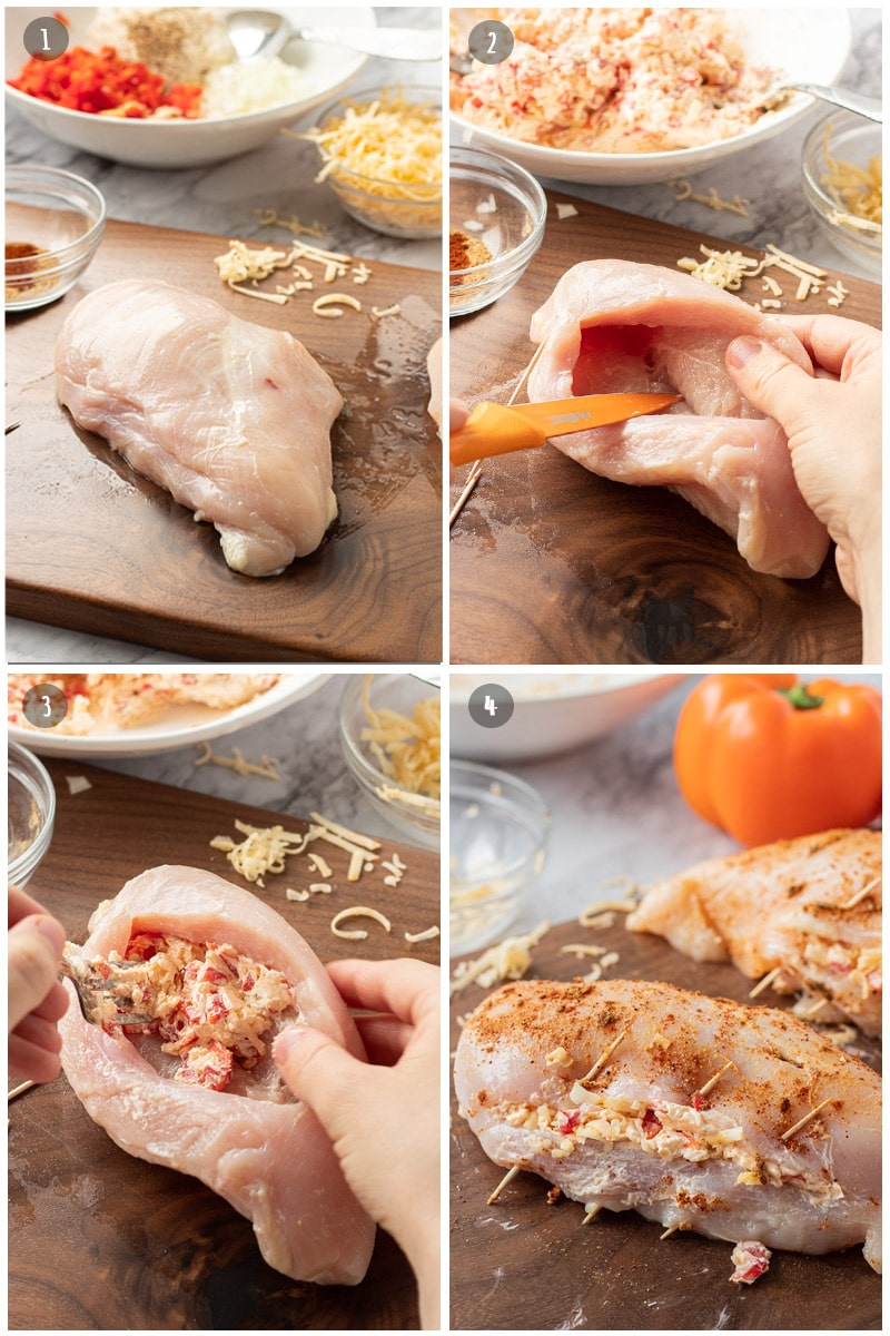 raw chicken being sliced, then stuffed with cheese, peppers, and cream cheese mixture.