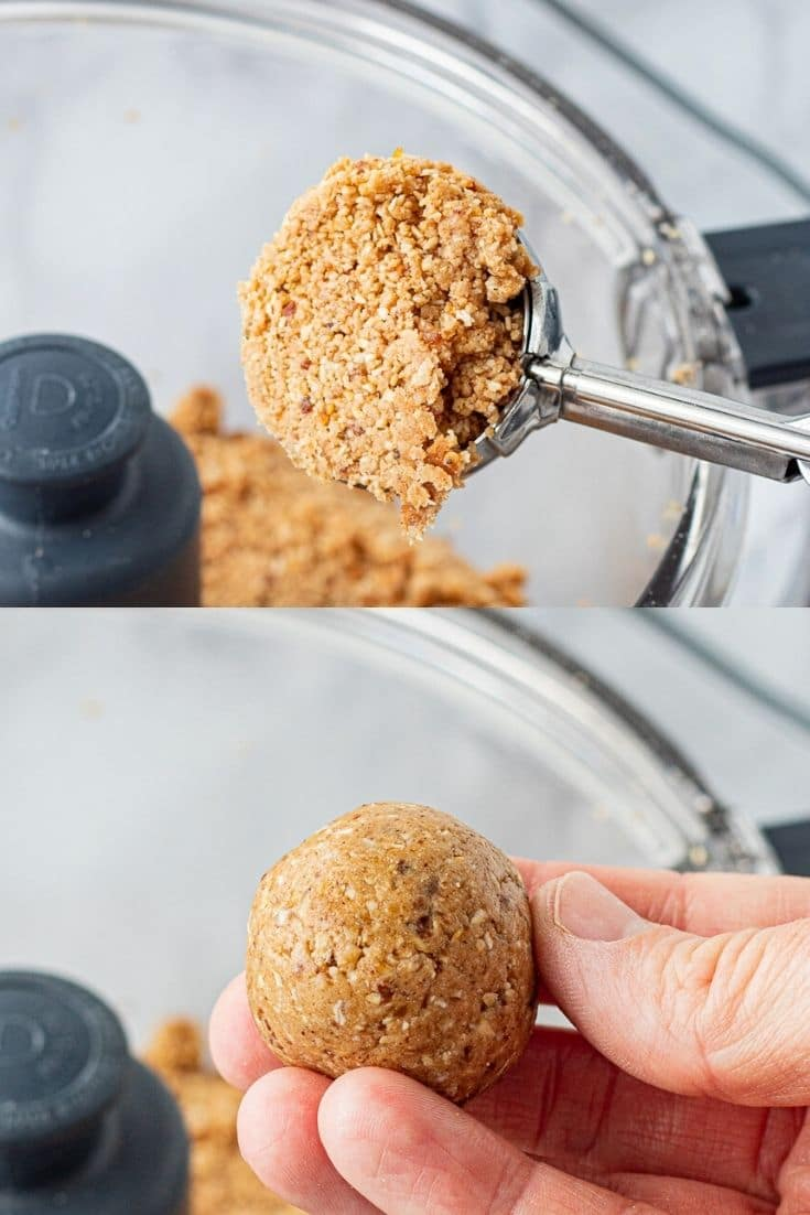 Scoop of almond butter protein mixture, mixture rolled into ball.