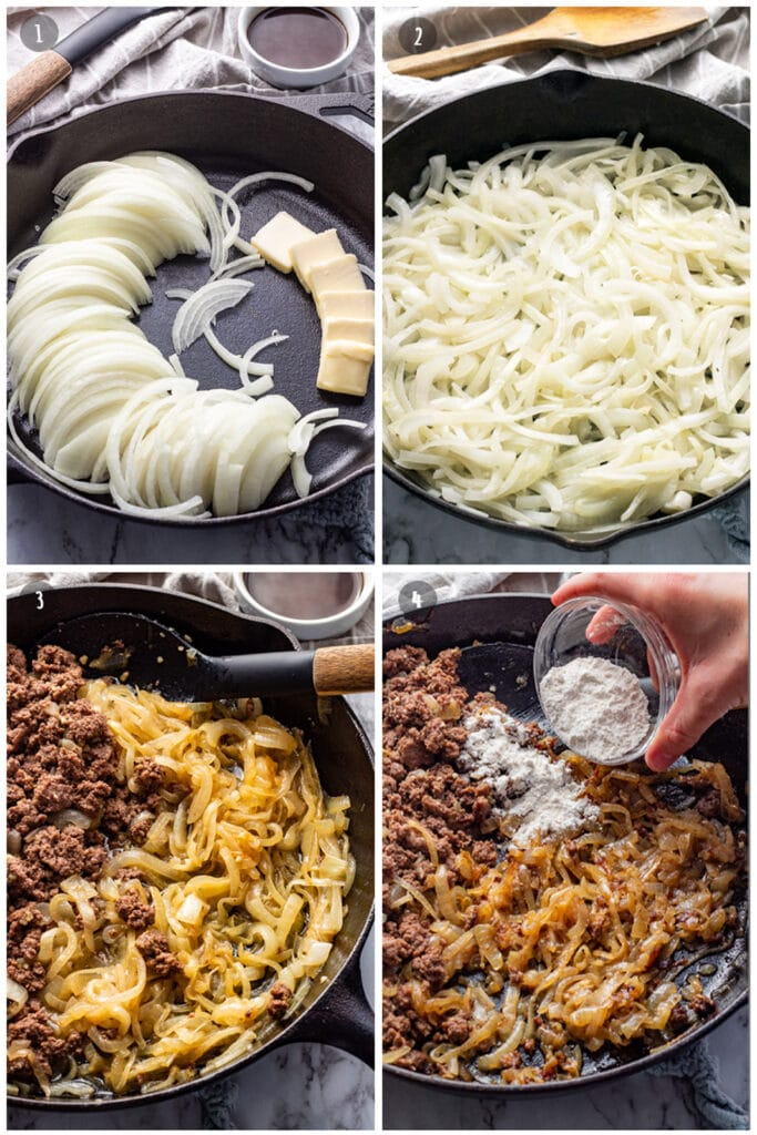 raw onions and butter in cast iron pan, ground beef added to pan, four added to pan.