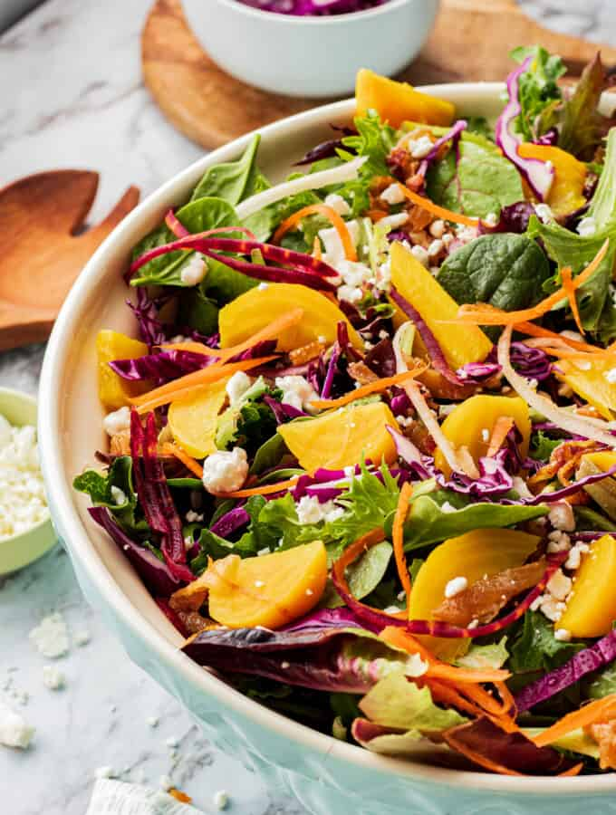 Golden Beet Salad with Balsamic Miso Dressing