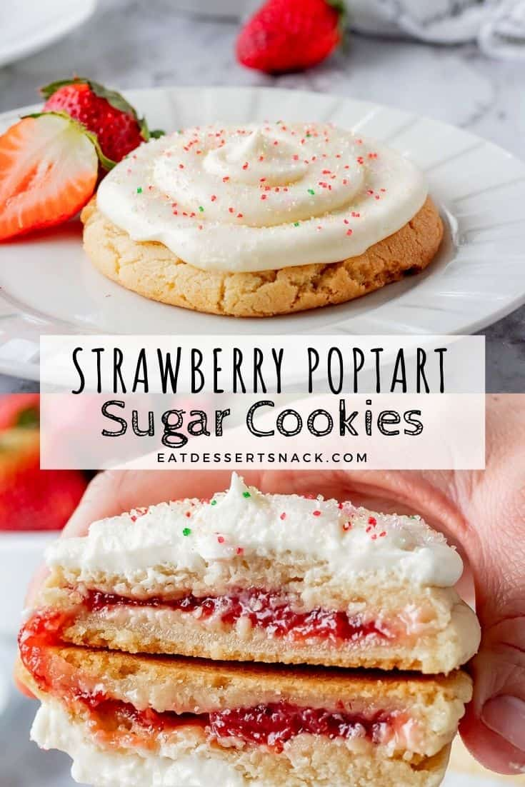 Strawberry pop tart cookies on white plate and hand holding cookie with strawberry jam inside cut in half.