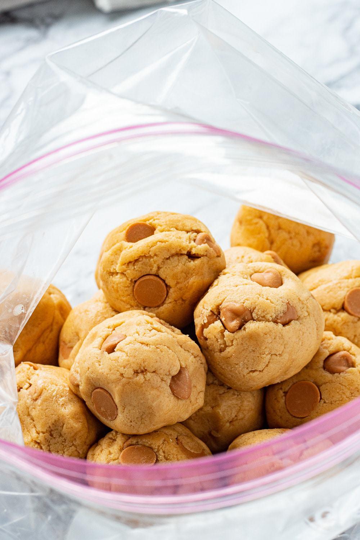 ziploc bag with butterscotch cookie dough balls inside