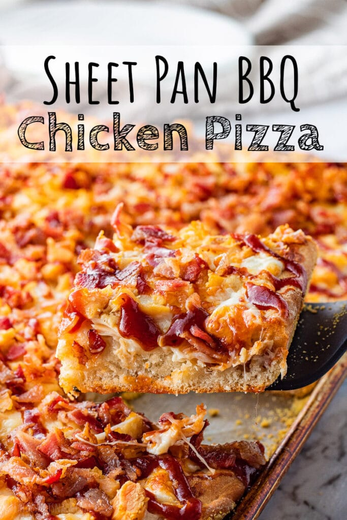 slice of bbq chicken pizza on spatula above pan with text overlay