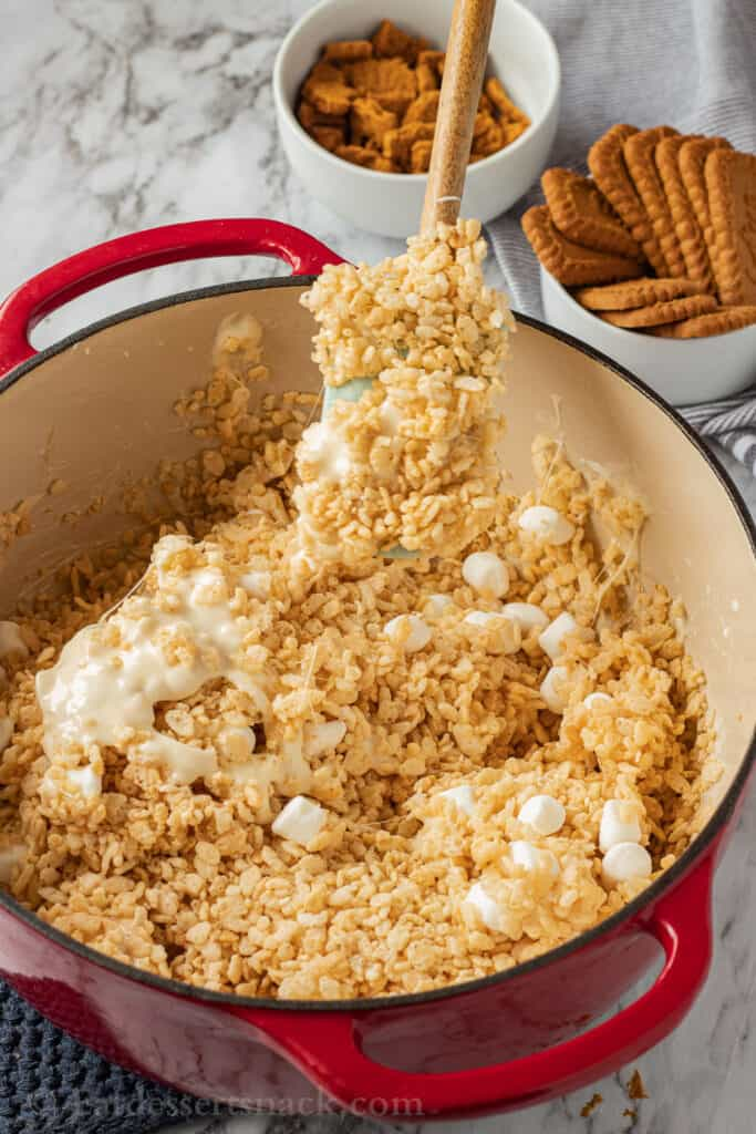 mixture of puffed rice cereal, melted marshmallows and butter