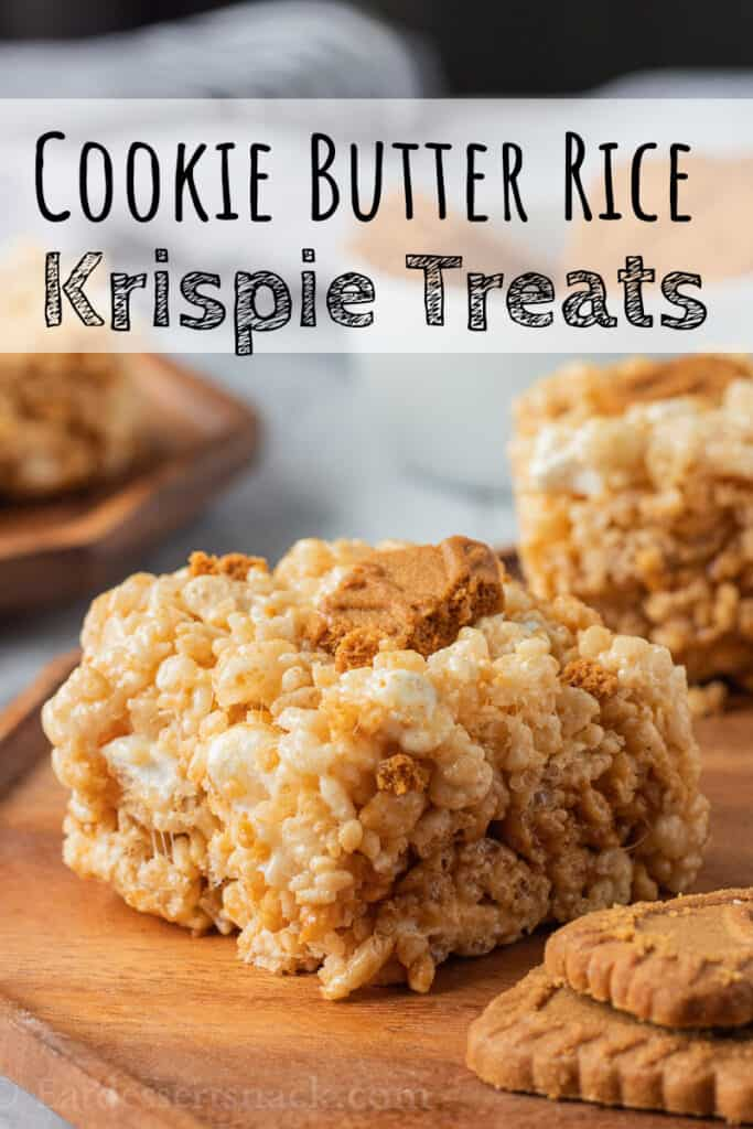 slice of cookie butter rice krispie treats on wood plate with text overlay.