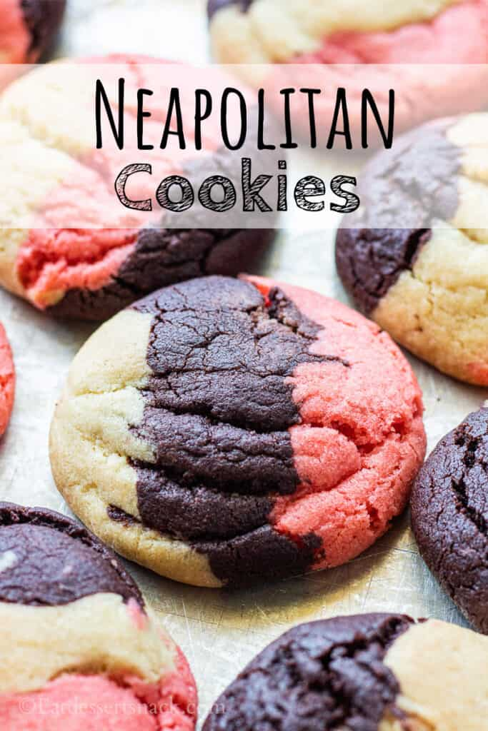 Baked neapolitan cookies on metal pan with text overlay.