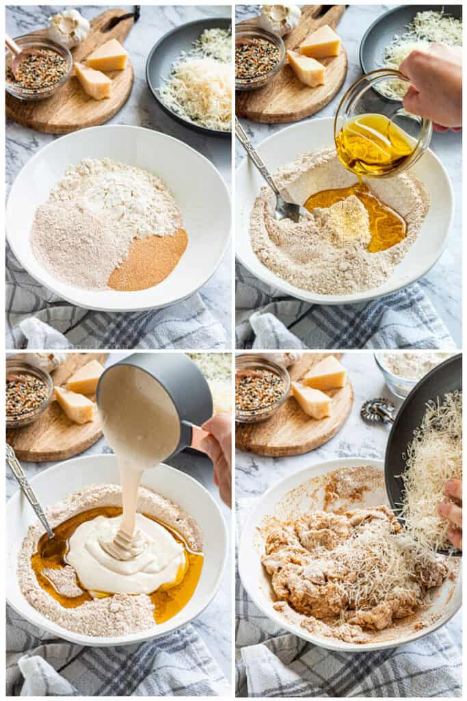 process of making sourdough crackers: ingredients in white bowl, pouring in olive oil, pouring in sourdough discard, and adding parmesan.