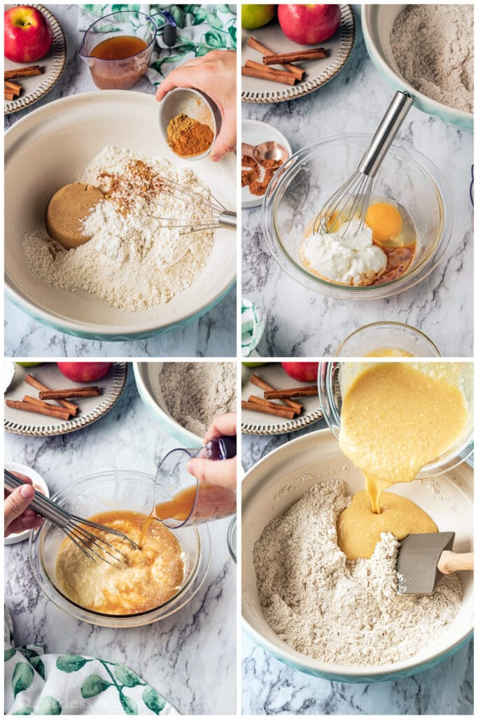 process of apple cider baked donuts being made: dry ingredients in a bowl, wet ingredients in a bowl, apple cider being added to bowl, we ingredients being added to dry ingredients.